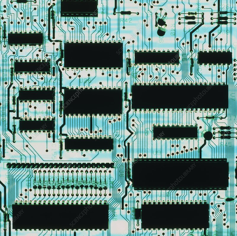 Circuit board with microprocessors, etc.