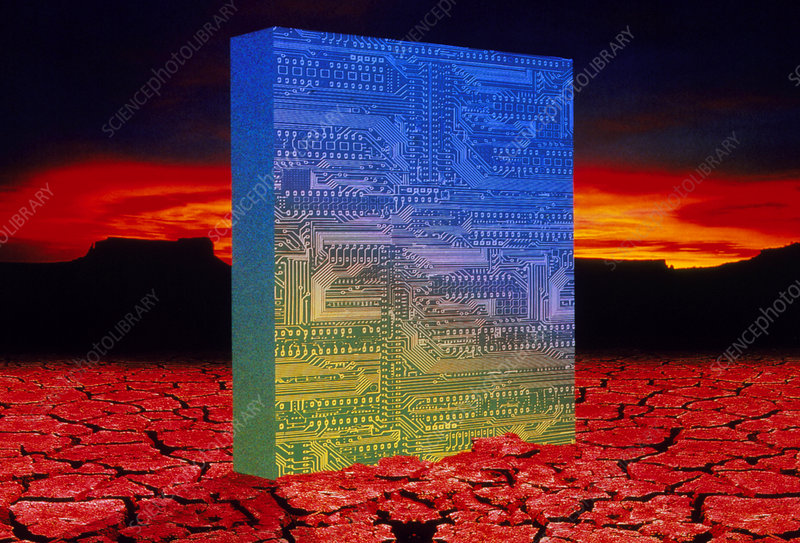Circuit board rising from desert landscape