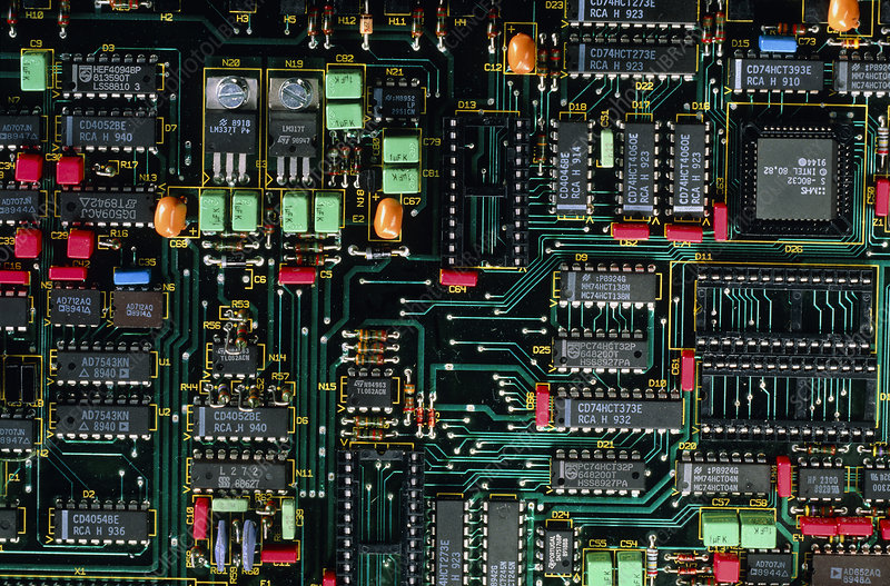 Printed circuit board with electronic components - Stock