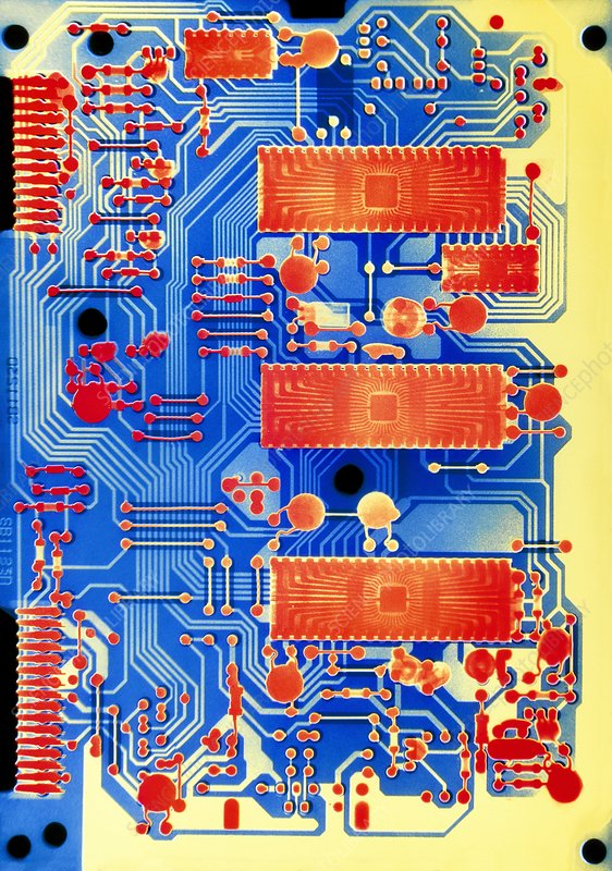 Coloured X-ray of a circuit board.
