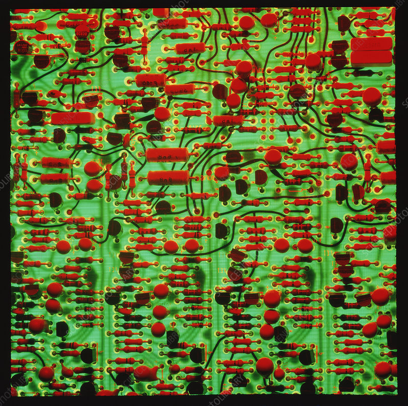 Circuit board showing its electronic components