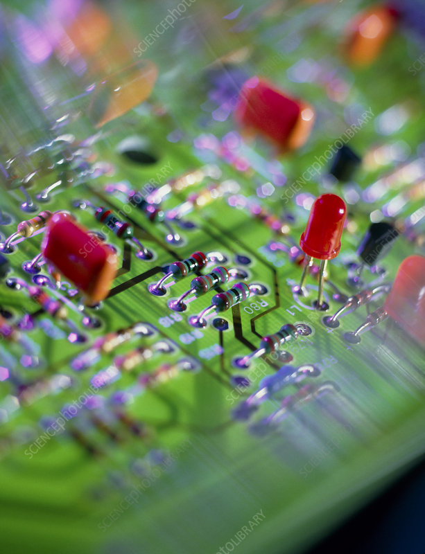 Close-up of an electronic circuit board.