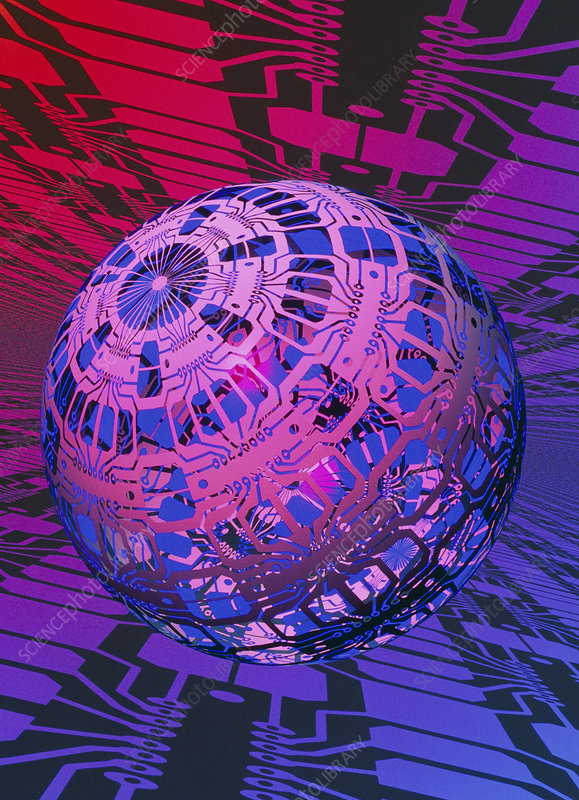Computer artwork of a sphere covered in circuits