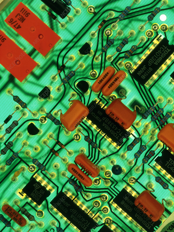View of a circuit board from an alarm system