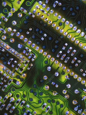 Close-up of the main circuit board of a computer