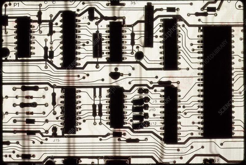 Silhouette of a printed circuit board