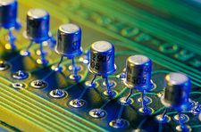 View of transistors welded to a circuit board