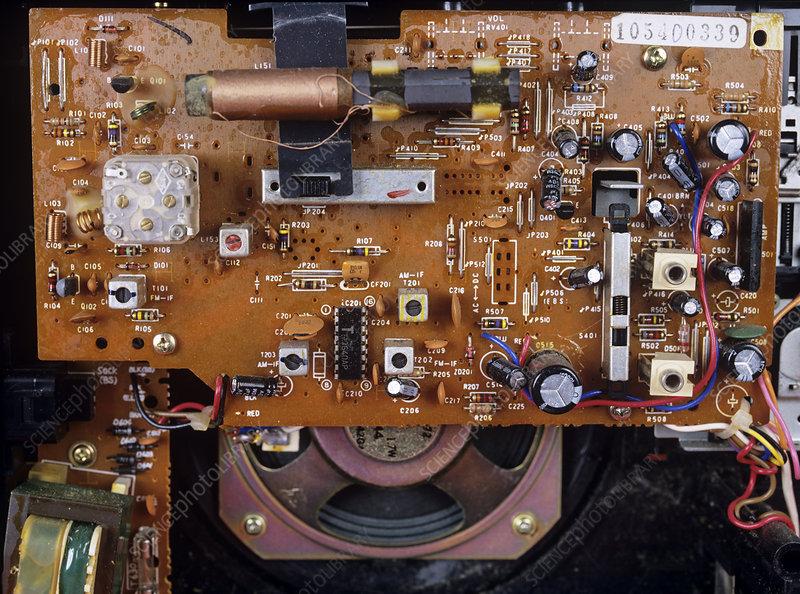 Circuit board in a portable radio - Stock Image - T356/0569