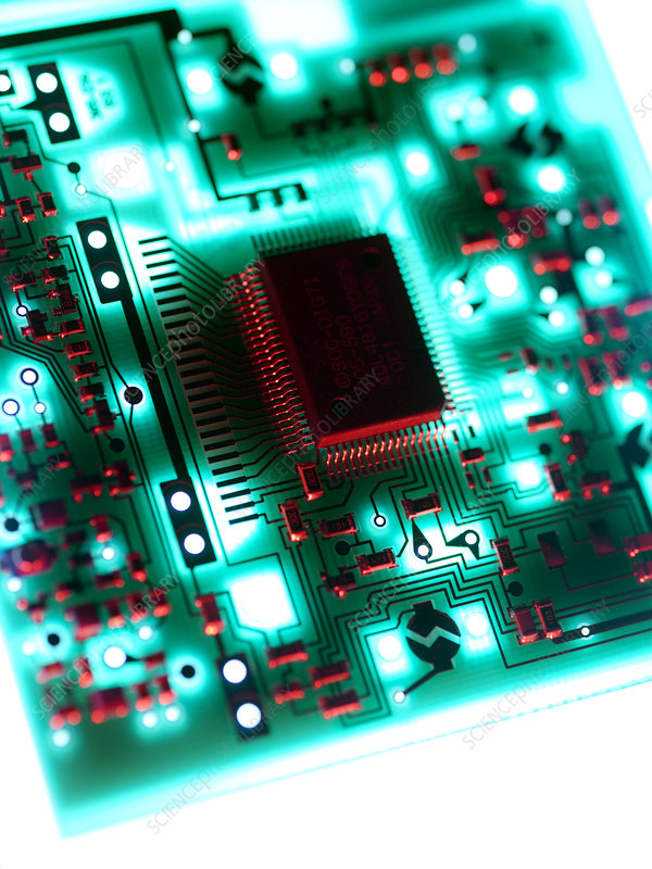 Computer Circuit Board With Silicon Chips Stock Image T356 0323