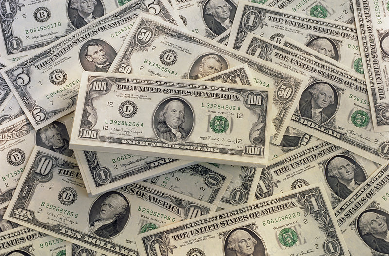 Assorted American dollar banknotes
