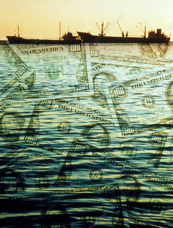 Abstract image of fishing boats in a sea of money