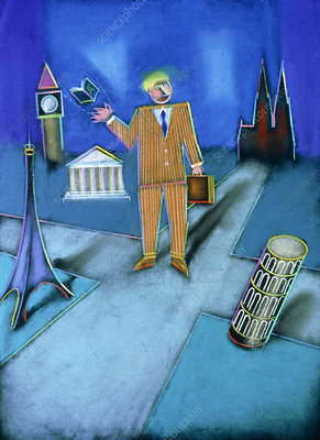 Abstract artwork of a businessman in Europe