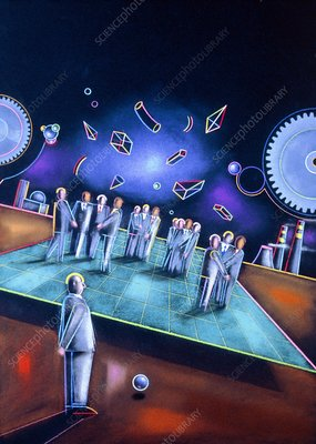 Abstract artwork of businessmen at a meeting