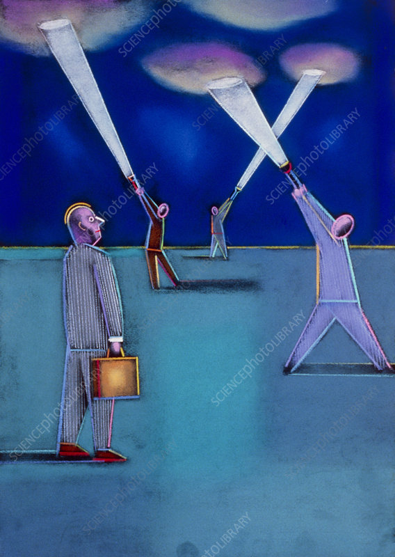 Abstract artwork of businessmen looking for ideas