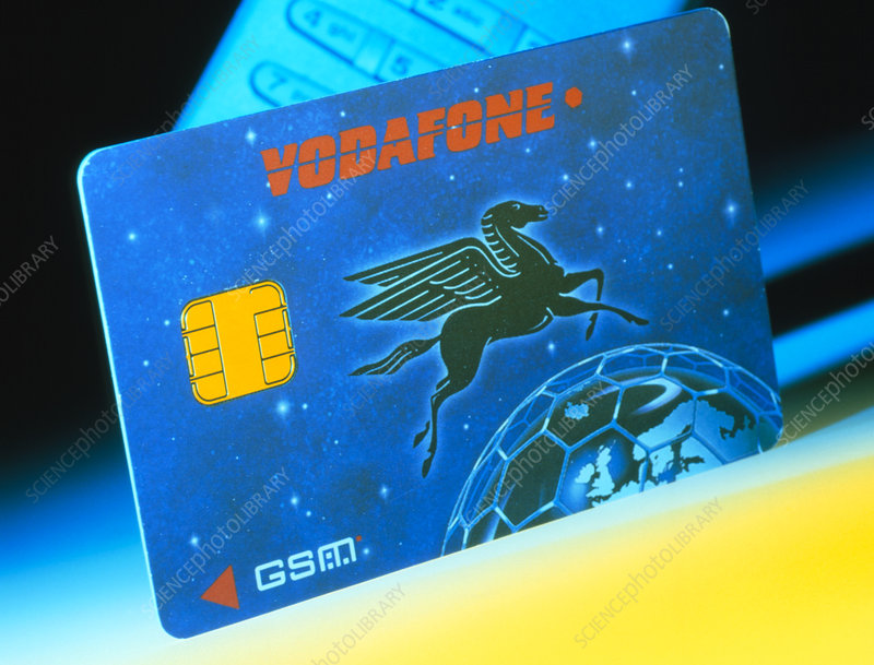 Close-up of a vodafone smart card