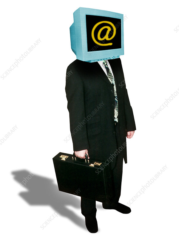 Computer artwork of businessman with computer head