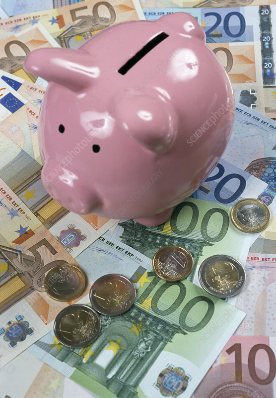 Euro currency and piggy bank
