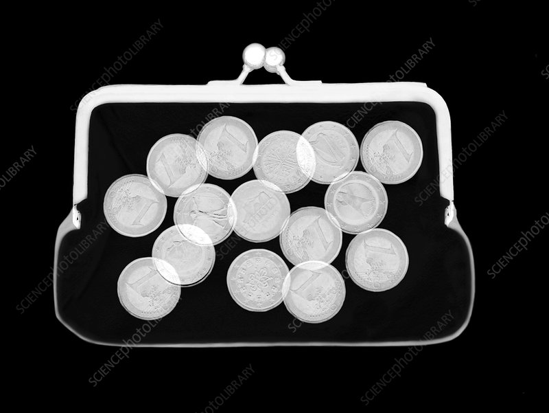 Euro coins in purse, X-ray
