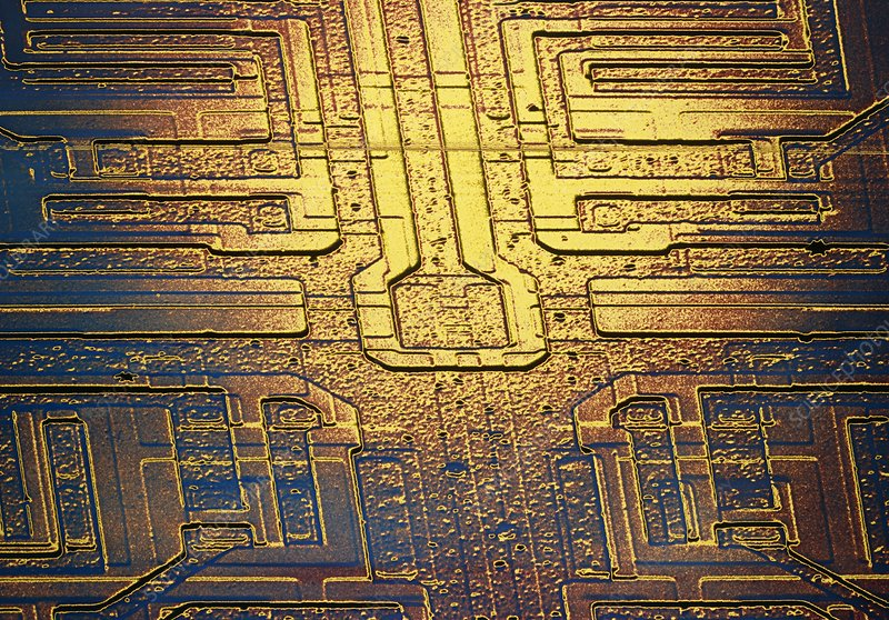 False-col SEM of integrated circuit