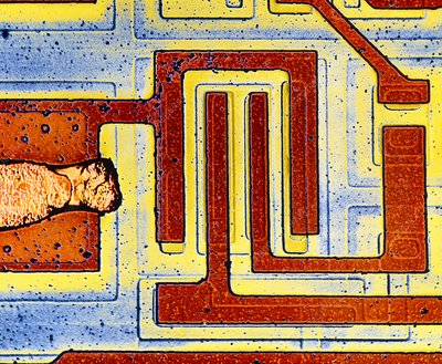 False colour SEM of integrated circuit