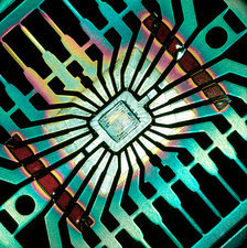 Macrophotograph of a silicon chip