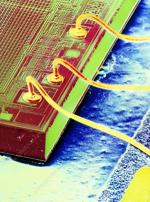 False-colour SEM of an integrated circuit.