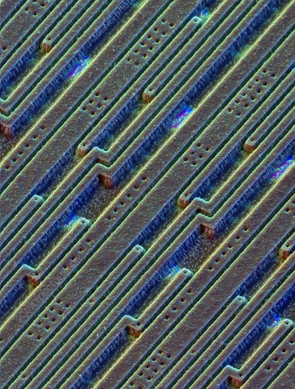 Coloured SEM surface of an integrated silicon chip