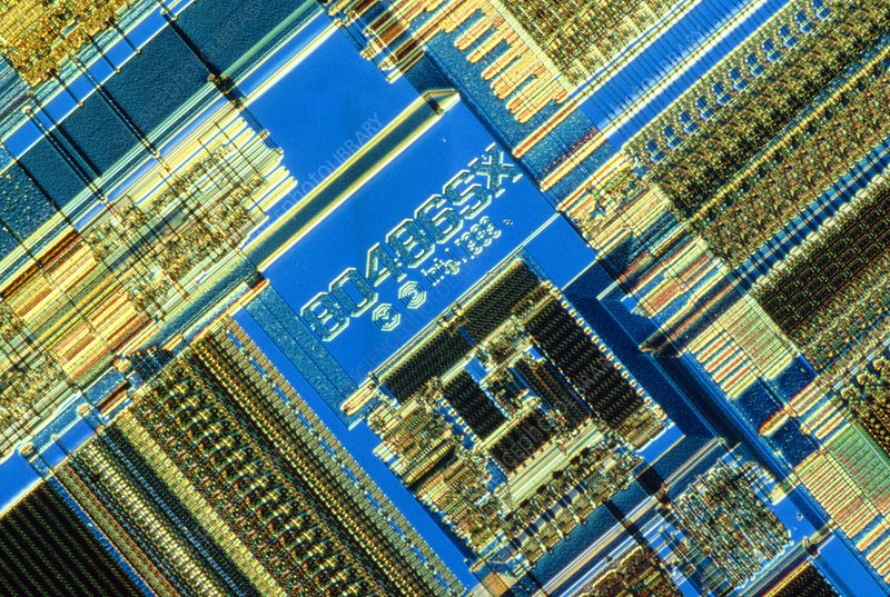 Light micrograph of an Intel 486 computer chip