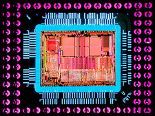 Macrophoto of an 486 computer silicon chip