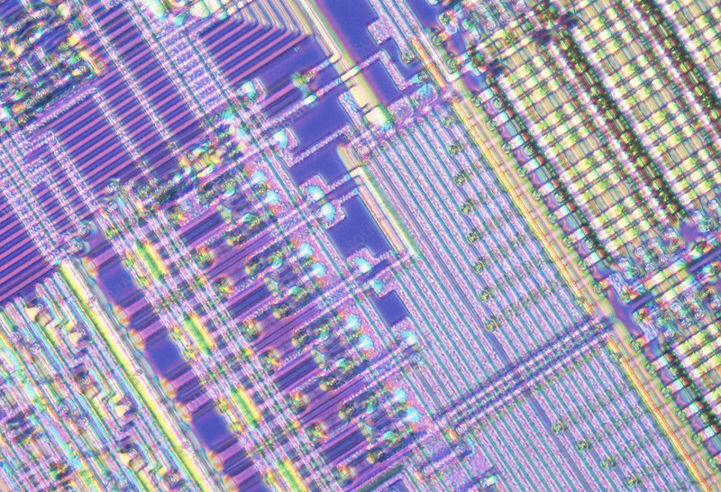 Light micrograph of an integrated computer chip