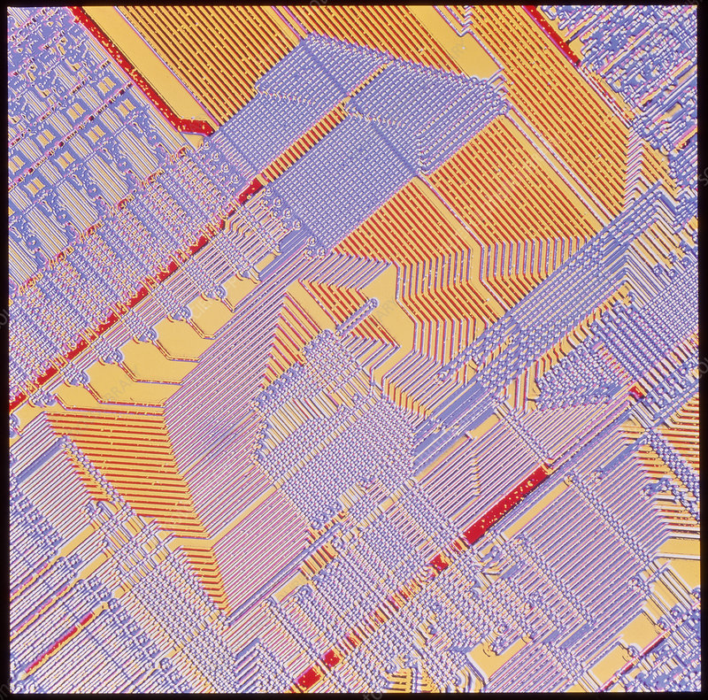 Coloured light micrograph of a computer c