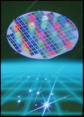 Computer artwork of semiconductor wafer above grid