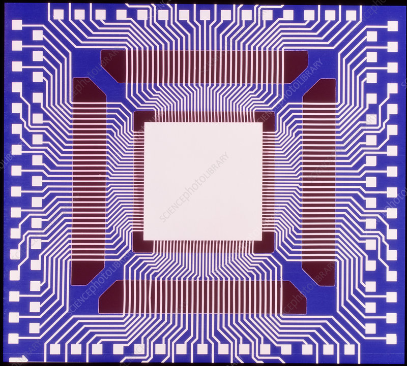 Computer artwork of a hybrid integrated circuit