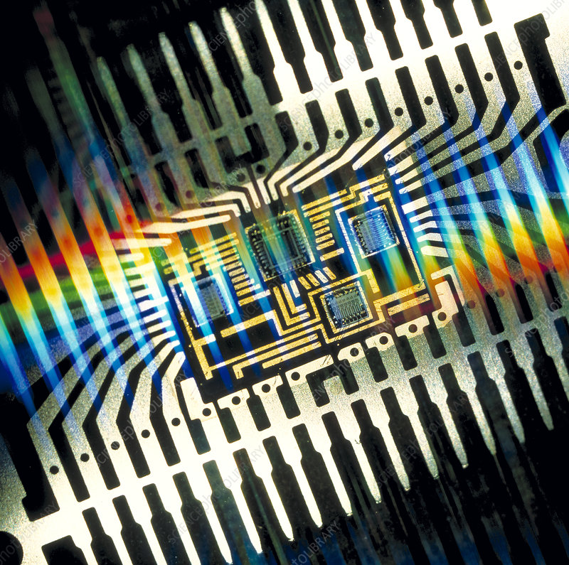 Macrophoto of a hybrid integrated circuit package