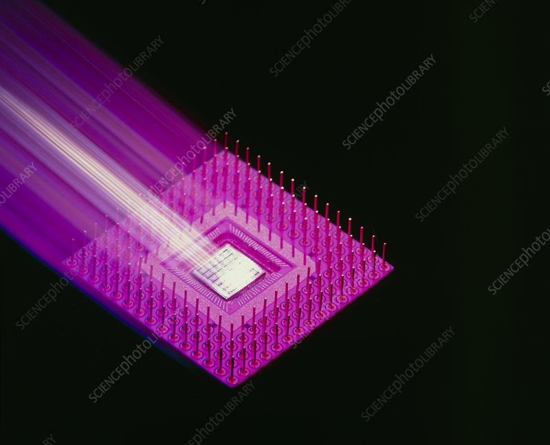 Packaged electronic chip, motion effect