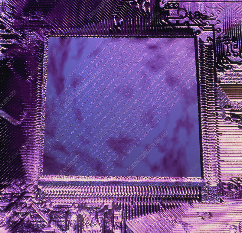 Macrophotograph of an Intel computer microchip