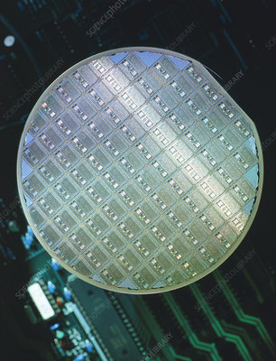 View of a semiconductor wafer and its chips