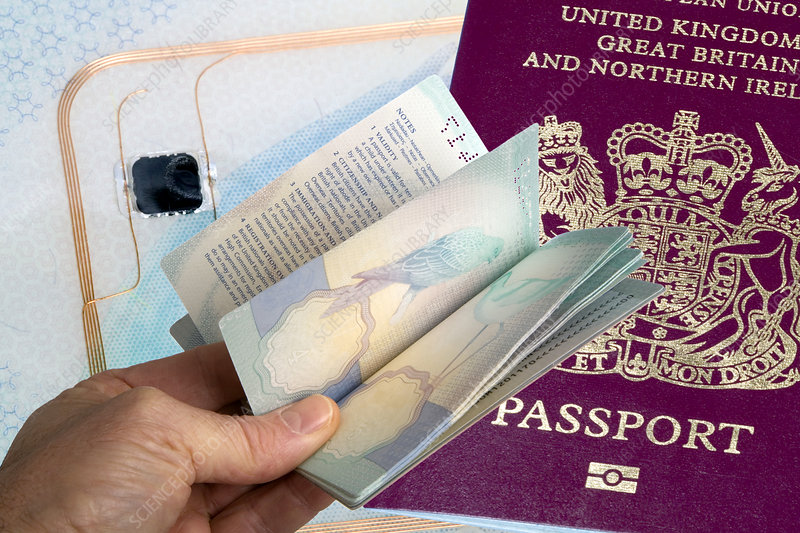 Hand holding a British passport