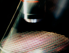 Microscope inspection of a processed silicon wafer