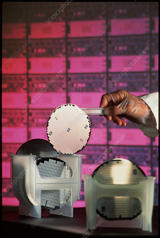 Semiconductor wafer in a quality control laboratry