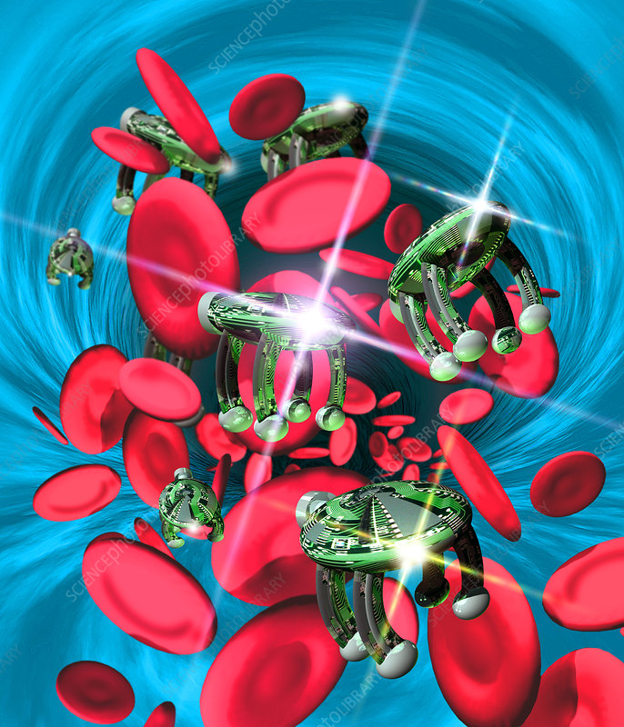 Computer artwork of nanorobots in the bloodstream