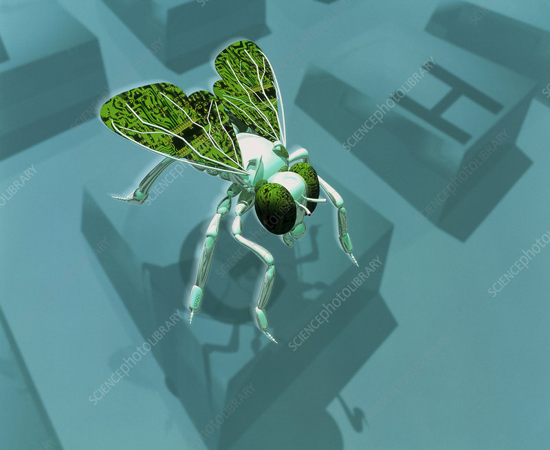 Computer artwork of a nanorobot fly on a keyboard