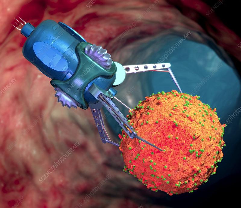 Viral Nano News Viralnanonews: Nanorobot Treating Infected Cell