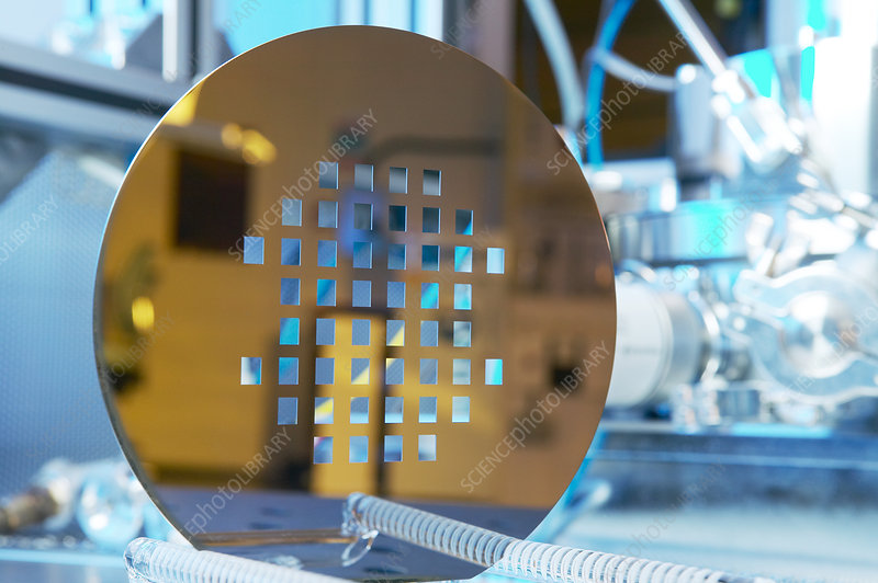 MEMS production, machined silicon wafer