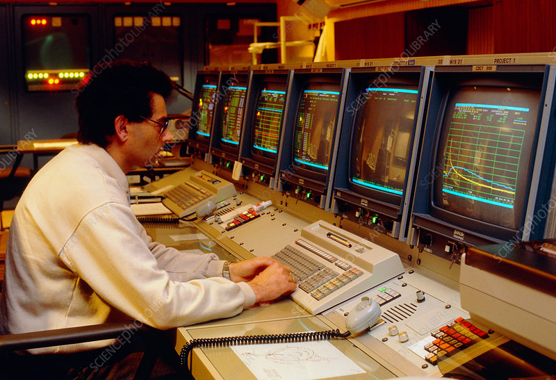 Giotto mission control room at ESA
