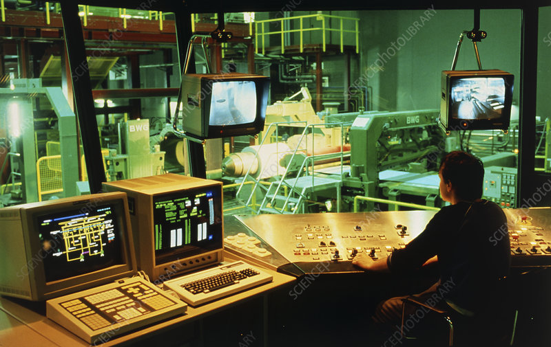 Computerised control room in a steel factory.
