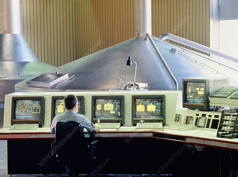 Computerised control room in a brewery.
