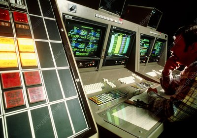 Computerised control room at an oil refinery