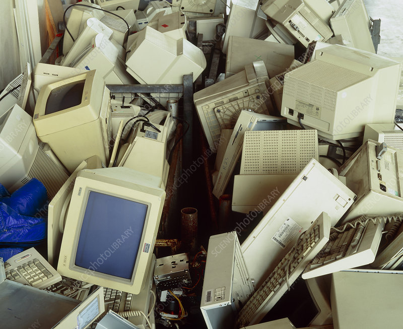 Piles of discarded, redundant computer hardware