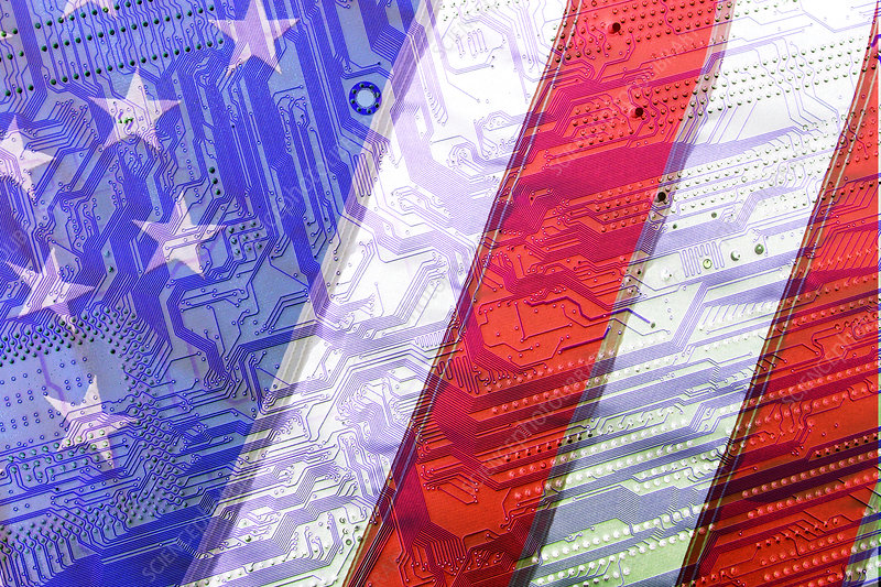 American flag over a circuit board